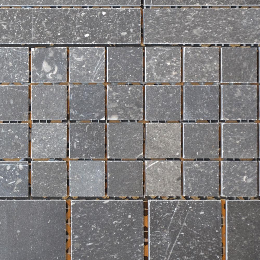Vietnam Blue Fossil Dark - Mozaiek Gezoet